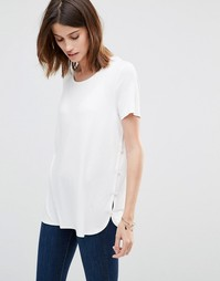 Vila Button Side T-Shirt - Снежно-белый