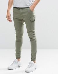 Супероблегающие джинсы‑карго SikSilk - Хаки