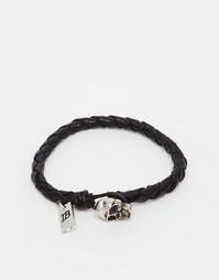 Кожаный браслет с черепом Icon Brand - Черный