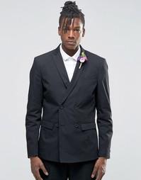 Пиджак с добавлением хлопка и льна Selected Wedding - Черный