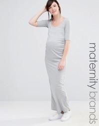 Трикотажное платье макси для беременных Bluebelle Maternity - Серый
