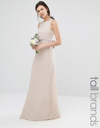Платье макси с атласным бантом сзади TFNC Tall Wedding