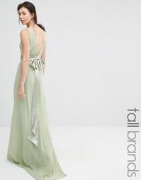 Платье макси с атласным бантом сзади TFNC Tall Wedding - Laurel green
