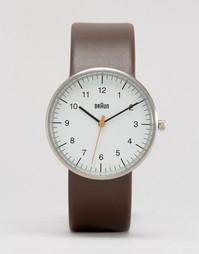 Классические часы с кожаным ремешком Braun - Коричневый