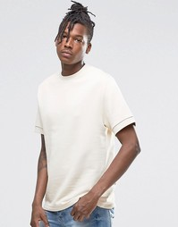 ASOS Short Sleeve Sweatshirt In Off White - Серый