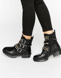 Кожаные ботинки с заклепками и пряжками ALDO - Черная кожа