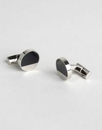 Черные эмалированные запонки Hugo Boss E-Spot - Черный