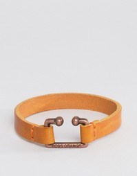 Boss Orange Morris Leather Bracelet In Tan - Рыжий