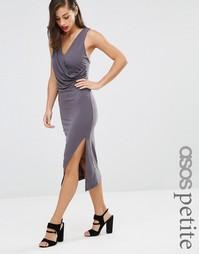 Облегающее платье миди с драпировкой и перекрестной отделкой сзади ASO Asos Petite