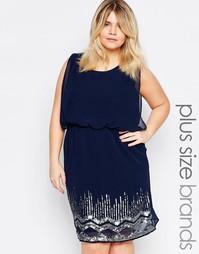 Короткое приталенное платье с отделкой на юбке Junarose Plus Renee