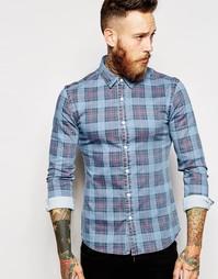 Облегающая джинсовая рубашка в клетку ASOS - Синий