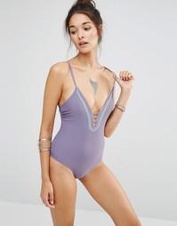 Слитный купальник с лямками на спине и отделкой вышивкой Ninety Nine D