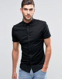 ASOS Skinny Shirt In Black Twill With Short Sleeves - Черный