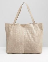 Замшевая сумка-шоппер с отделкой под кожу крокодила ASOS - Mink