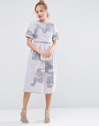 Платье миди с кроп-топом и вышивкой ASOS SALON - Сиреневый