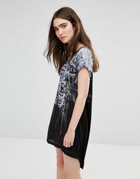Платье-футболка с принтом грудной клетки Religion - Черный