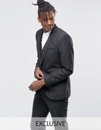 Зауженный пиджак из крапчатой ткани с лацканами наклонной формы Noak