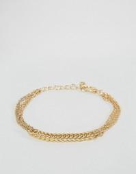 Плетеный браслет-цепочка ASOS - Золотой