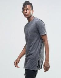 Супердлинная футболка с завязками по бокам и эффектом кислотной стирки Asos
