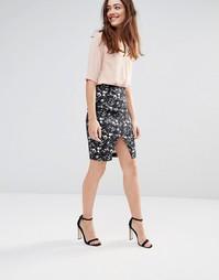 Темная юбка из стретчевого хлопка с цветочным принтом Sugarhill Boutiq