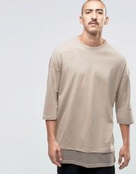 Двуслойная oversize-футболка с рукавами 3/4 ASOS - Бежевый