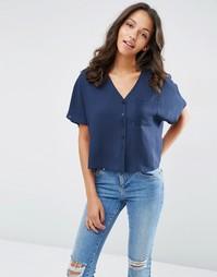 Укороченная блузка с V‑образным вырезом ASOS - Темно-синий