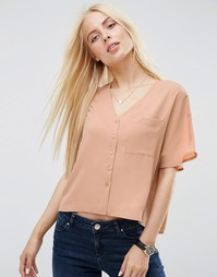 Укороченная блузка с V‑образным вырезом ASOS - Карамельный