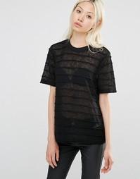 Полосатая футболка с выжженным эффектом Y.A.S - Черный