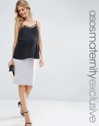Юбка миди для беременных с фигурным подолом ASOS Maternity - Blush