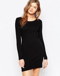 Черное платье с вырезом Pieces Delfine - Черный
