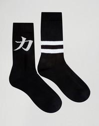 Набор из 2 пар носков с текстовым узором ASOS - Monochrome