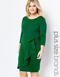 Платье с драпировкой Goddiva Plus - Изумруд