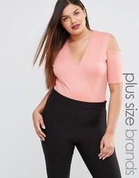 Боди с глубоким вырезом и открытыми плечами Pink Clove - Розовый