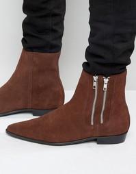 Замшевые ботинки с двумя молниями Religion Pistol - Коричневый