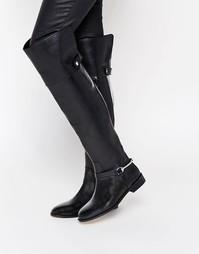 Кожаные ботфорты с отделкой ASOS KAYDEN - Черный