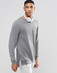 ASOS Loungewear Longline Sweatshirt With Acid Wash - Серый
