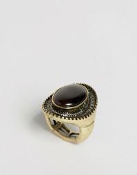 Регулируемое кольцо Nylon Stone Cocktail - Шлифованный золотой