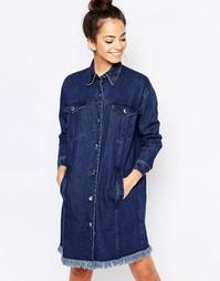 Джинсовое платье в стиле куртки с бахромой The WhitePepper - Синий