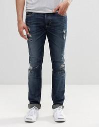 Темные джинсы с заплатками Diesel Thavar 854T DNA - Темно-выбеленный