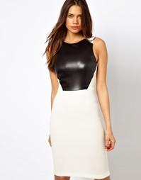 Платье миди со вставкой из искусственной кожи Vesper - Кремовый