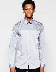 Рубашка с контрастной кокеткой Minimum - Синий