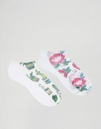 2 пары носков с принтом кактусов и цветов 7X - Мульти