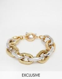 Браслет-цепочка с золотистой/серебристой отделкой Designb - Золотой