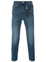 узкие джинсы с заплаткой Love Moschino