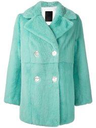 двубортное пальто из лисьего меха Liska