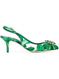 туфли с шелковой отделкой и лиственным принтом Dolce & Gabbana