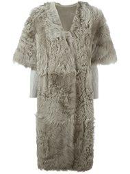 меховое пальто с короткими рукавами Yves Salomon