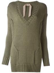 удлиненный свитер с V-образным вырезом  Nº21