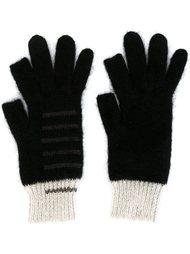 вязаные перчатки дизайна колор-блок Rick Owens