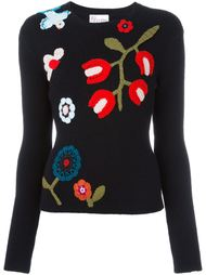 свитер с цветочным узором  Red Valentino